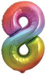 Фольгированная цифра 8 яркая радуга