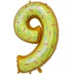 Фольгированная цифра 9 пончик