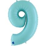 Фольгированная цифра 9 светло голубой