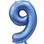Фольгированная цифра 9 синий сатин