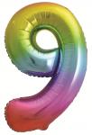 Фольгированная цифра 9 яркая радуга