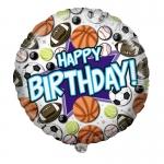 Фольгированный шар С Днем рождения спортивные мячи