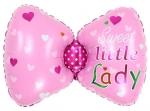 Фольгированный шар бантик розовый