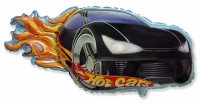 Фольгированный шар гоночная машинка черный