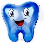Фольгированный шар зубик синий