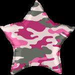 Фольгированный шар камуфляж розовый