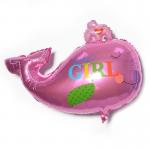 Фольгированный шар кит девочка
