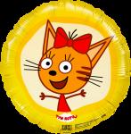 Фольгированный шар круг три кота карамелька желтый