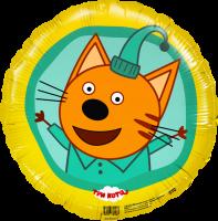 Фольгированный шар круг три кота компот желтый