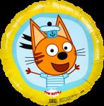 Фольгированный шар круг три кота коржик желтый