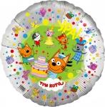 Фольгированный шар круг три кота серебро