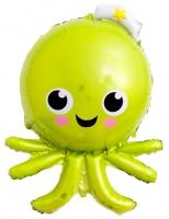 Фольгированный шар осьминог зеленый