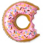 Фольгированный шар пончик розовый
