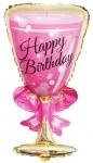 Фольгированный шар фужер розовый