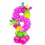 Цифра из воздушных шаров 8 розовая