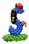 Цифра из воздушных шаров с тачками