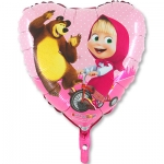 """Фольгированный шар """"Маша и медведь в сердце"""""""