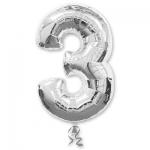 Цифра 3 серебряная