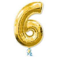 Цифра 6 золотая