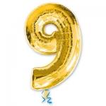 Цифра 9 золотая