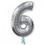 Цифра 6 серебряная