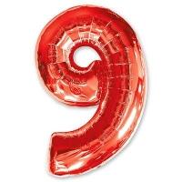 Цифра 9 красная