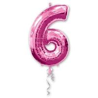 Цифра 6 розовая