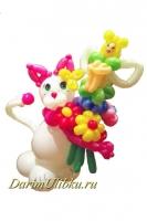 Фигура из воздушных шаров Кошечка с букетом