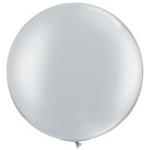 Большой шар с гелием серебряный