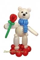 """Фигура из воздушных шаров """"Белый мишка"""""""