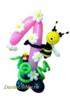 Цифра из воздушных шаров с пчелкой