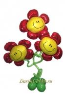 Стойка из воздушных шаров с 3 цветками