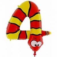 """Воздушный шар с гелием """"Цифра 4 змея"""""""