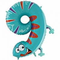 """Воздушный шар с гелием """"Цифра 9 ящерица"""""""
