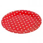 Тарелка красная в горошек ( 9 дюйм, 6 шт )