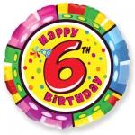 Фольгированный шар круг цифра 6