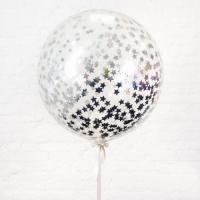 Большой шар с серебряным конфетти звезды