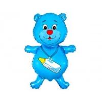 """Шар """"Медвежонок с соской"""" голубой"""
