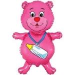 """Шар """"Медвежонок с соской"""" розовый"""
