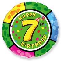 Фольгированный шар круг цифра 7