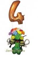Букет из воздушных шаров с пчелками и цифрой