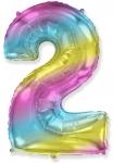 Цифра 2 нежная радуга
