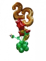 Фонтан с цифрой 23 из воздушных шаров