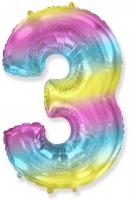 Цифра 3 нежная радуга
