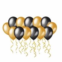 Воздушные шары с гелием черные и золотые
