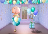 Оформление на выписку для мальчика из воздушных шаров