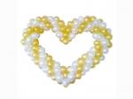 Сердце из воздушных шаров бело-золотое