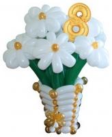 Корзинка с цветами из воздушных шаров №3