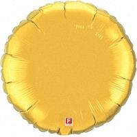 Фольгированный шар круг золотой