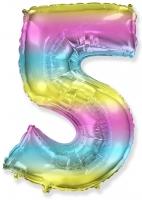 Цифра 5 нежная радуга
